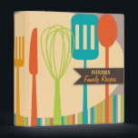 """Retro Kitchen Cooking Utensils Recipe Binder<br><div class=""""desc"""">Retro style implements for cooking and eating are featured on this cool recipe binder in classic shades of brown, teal, lime and orange. Customize the two lines of text on the cover with your family name or message. Don&#39;t forget to Include matching blank recipe pages to complete the cookbook! Also...</div>"""