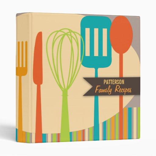 Retro Kitchen Cooking Utensils Recipe Binder