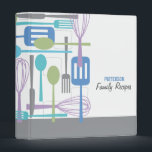 """Retro Kitchen Cooking Utensils Recipe Binder<br><div class=""""desc"""">Retro style implements for cooking and eating are featured on this cool recipe binder in cool shades of purple, blue, turquoise and gray on a crisp white background. Customize the two lines of text on the cover with your family name or message. Also available - matching blank recipe pages, apron...</div>"""