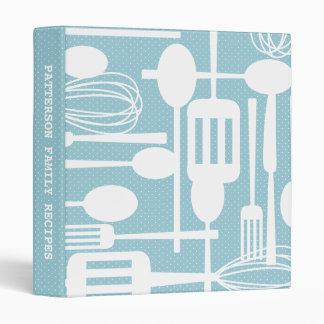 Retro Kitchen Cooking Utensils Recipe Binder Blue