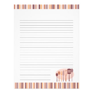 Retro Kitchen Cooking Utensils Recipe Pages Letterhead
