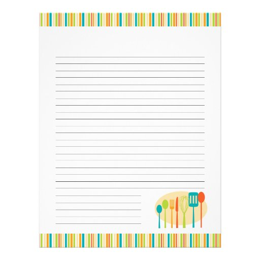 Retro Kitchen Cooking Utensils Recipe Pages Letterhead Template