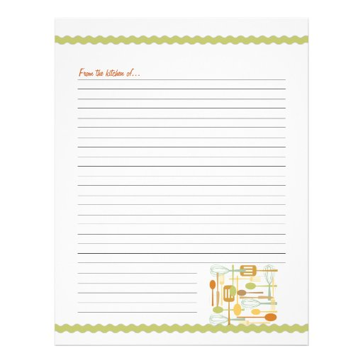 Retro Kitchen Cooking Utensils Recipe Pages Personalized Letterhead
