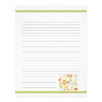 Retro Kitchen Cooking Utensils Recipe Pages Custom Letterhead