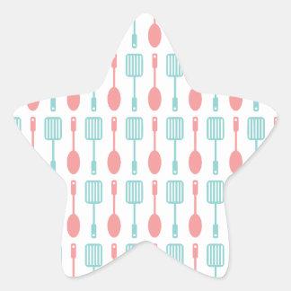 Retro Kitchen Cooking Utensils Star Sticker