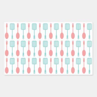 Retro Kitchen Cooking Utensils Rectangular Sticker