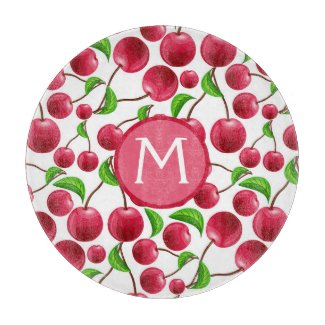 Retro Kitchen Decor Cherry Cherries Rockabilly Cutting Board