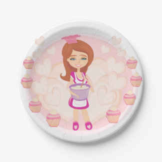 Retro kitchen Girl Paper Plate 7 Inch Paper Plate