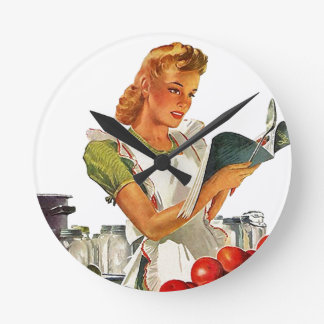 Retro Kitchen Home Canning In Apron Clock Vintage
