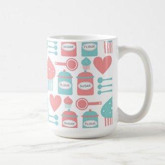 Retro Kitchen Pink & Turquoise & Cupcakes Mug