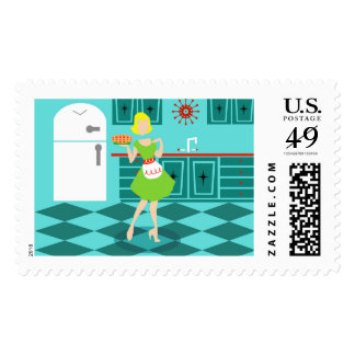 Retro Kitchen Postage Stamps