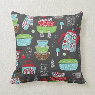 Retro Kitchen Pyrex and Mushroom Pattern Artwork Pillow