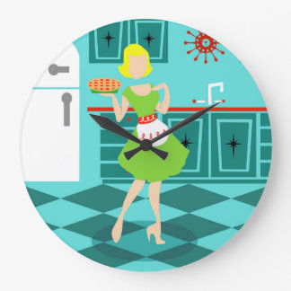 Retro Kitchen Round Acrylic Wall Clock