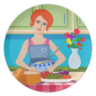 Retro kitchen scene melamine plate