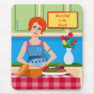 Retro kitchen scene mouse pad
