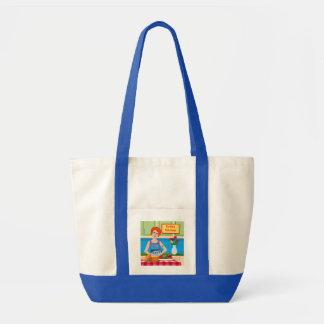 Retro kitchen scene tote bag