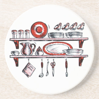 Retro Kitchen Shelf in Black White and Red Beverage Coasters