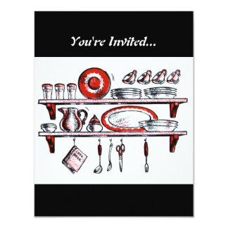 Retro Kitchen Shelf in Black White and Red Personalized Invites