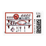 Retro Kitchen Shelf in Black White and Red Postage Stamp