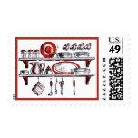 Retro Kitchen Shelf in Black White and Red Stamp