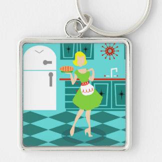 Retro Kitchen Square Keychain