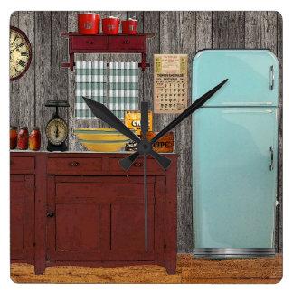 Retro kitchen square wall clock