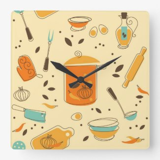 Retro Kitchen Square Wall Clock