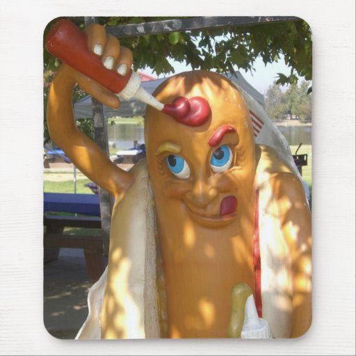 Retro Kitsch Hot Dog Statue Mouse Pad
