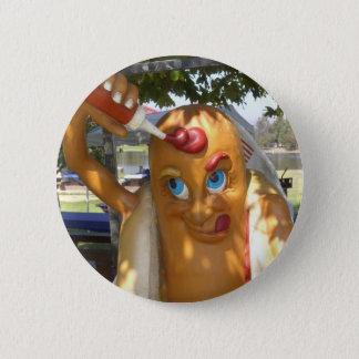 Retro Kitsch Hot Dog Statue Pinback Button