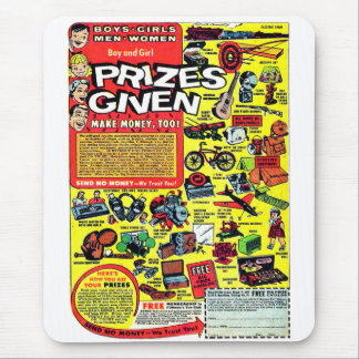 Retro Kitsch Vintage Comic Book Ad Prizes Given! Mouse Pad