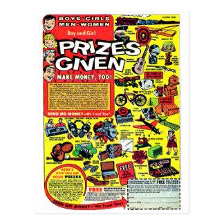 Retro Kitsch Vintage Comic Book Ad Prizes Given! Postcard