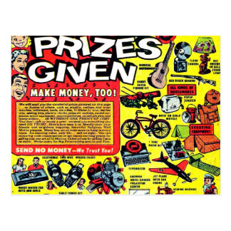 Retro Kitsch Vintage Comic Book Ad Prizes Given! Postcard