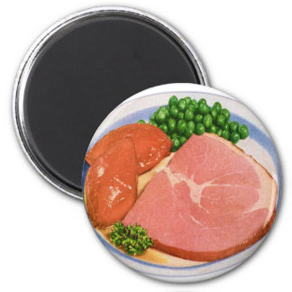 Retro Kitsch Vintage Food Ham and Peas Dinner Magnet
