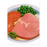 Retro Kitsch Vintage Food Ham and Peas Dinner Postcards