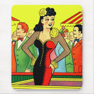 Retro Kitsch Vintage Pin Up Kissing Booth Girl Mouse Pad