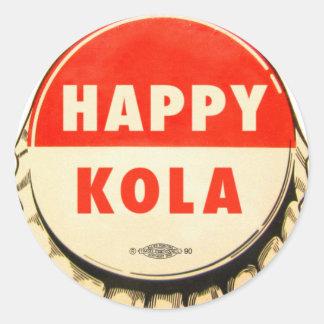 Retro Kitsch Vintage Soda Pop Happy Kola Cap Classic Round Sticker