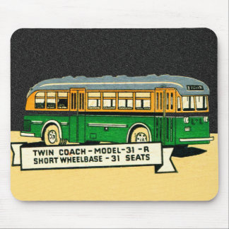 Retro Kitsch Vintage Twin Coach Bus 31-R Mouse Pad