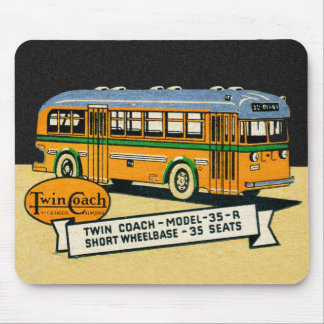 Retro Kitsch Vintage Twin Coach Bus 35-R Mouse Pad
