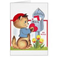 Retro Kitten / Cat Valentine's Day Card