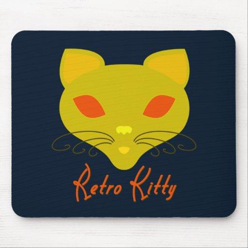 Retro Kitty Black Mouse Pad