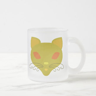 Retro Kitty Frosted Glass Coffee Mug