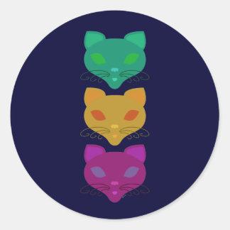 Retro Kitty Trio Classic Round Sticker