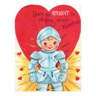 Retro Knight Valentine Post Card