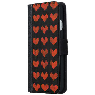 Retro Knitted Black Red Hearts Love Pattern Wallet Phone Case For iPhone 6/6s