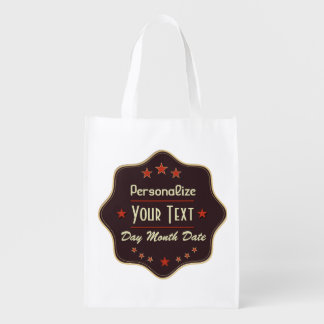 Retro Label Reusable Grocery Bags