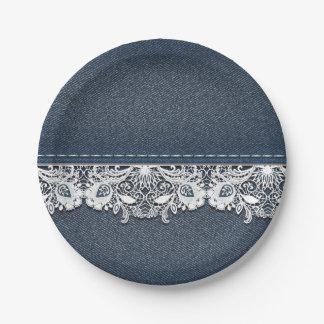Retro Lace and Denim Texture Paper Plate  sc 1 st  Zazzle & Retro Floral Plates | Zazzle