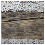 retro lace on the wooden background printed napkin