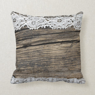 retro lace on the wooden background throw pillow