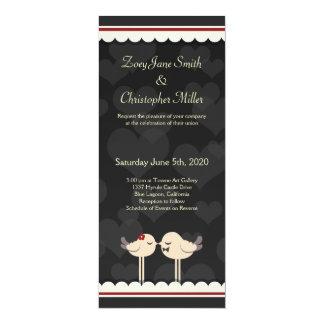 Retro Lacey Love Birds Wedding Invitation