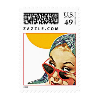 Retro Lady Behind Red sunglasses Postage Stamps